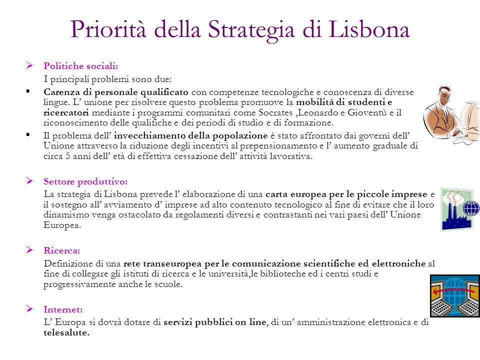 Priorità della Strategia di Lisbona Politiche sociali: I principali problemi sono due: Carenza di personale qualificato con competenze tecnologiche e