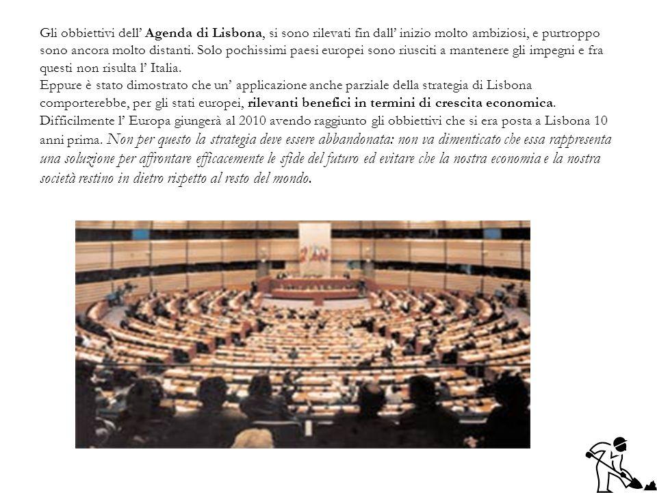 Gli obbiettivi dell Agenda di Lisbona, si sono rilevati fin dall inizio molto ambiziosi, e purtroppo sono ancora molto distanti. Solo pochissimi paesi