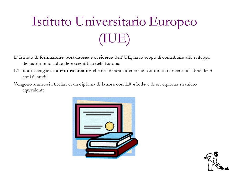 Istituto Universitario Europeo (IUE) L Istituto di formazione post-laurea e di ricerca dell UE, ha lo scopo di contribuire allo sviluppo del patrimoni