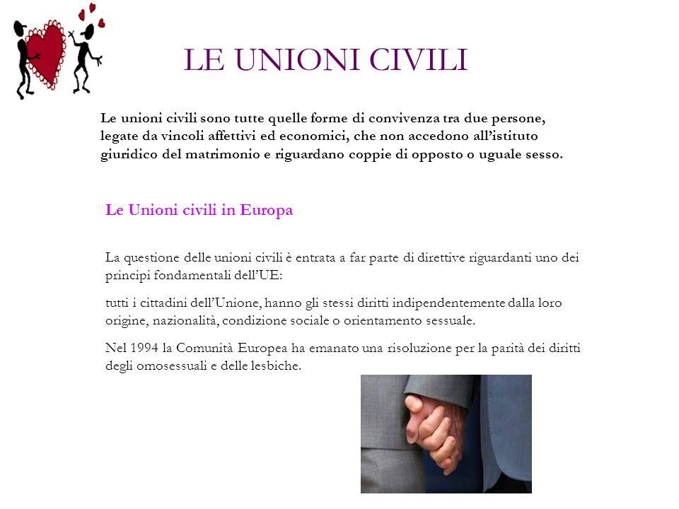 Le unioni civili sono tutte quelle forme di convivenza tra due persone, legate da vincoli affettivi ed economici, che non accedono allistituto giuridi