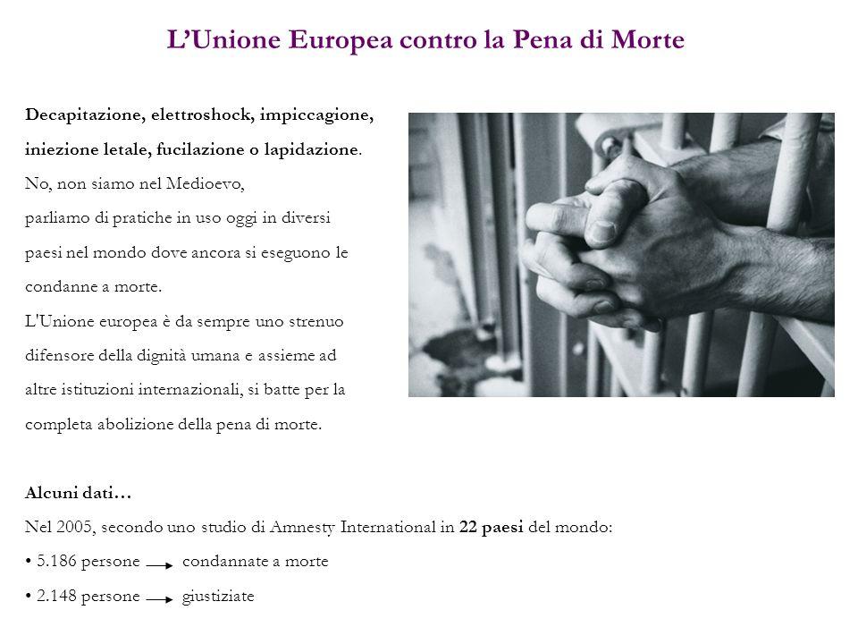 LUnione Europea contro la Pena di Morte Decapitazione, elettroshock, impiccagione, iniezione letale, fucilazione o lapidazione. No, non siamo nel Medi