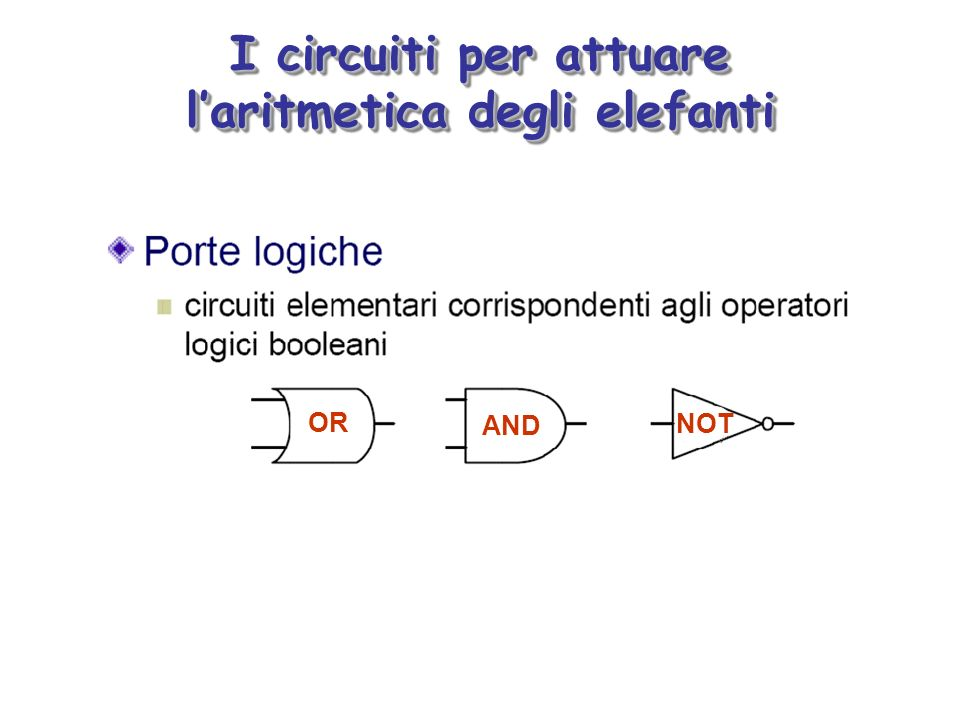 I circuiti per attuare laritmetica degli elefanti OR AND NOT