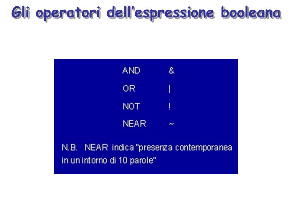 Gli operatori dellespressione booleana