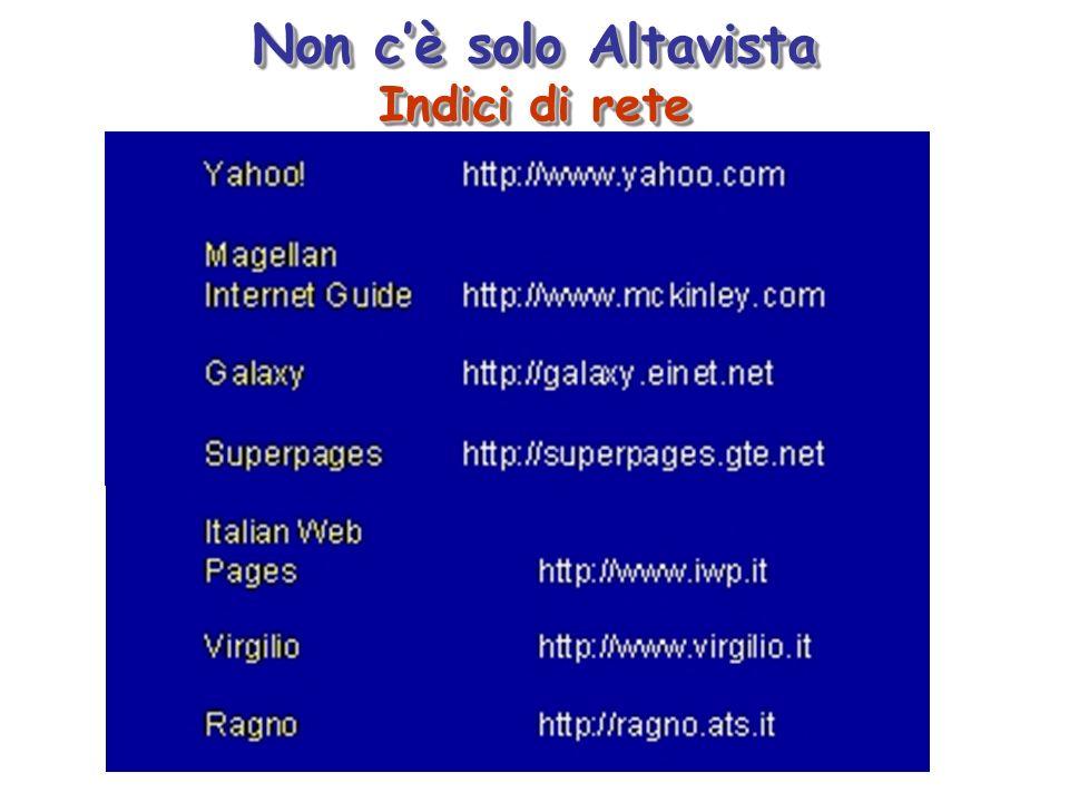 Non cè solo Altavista Indici di rete Non cè solo Altavista Indici di rete