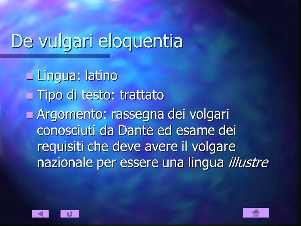 De vulgari eloquentia Lingua: latino Lingua: latino Tipo di testo: trattato Tipo di testo: trattato Argomento: rassegna dei volgari conosciuti da Dant