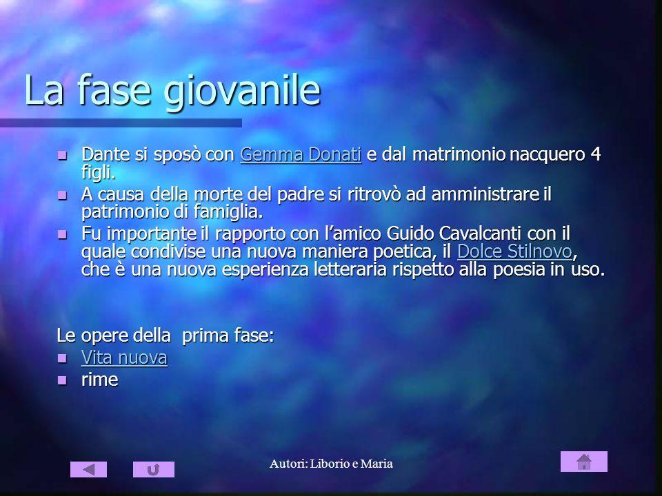 Autori: Liborio e Maria La fase giovanile Dante si sposò con Gemma Donati e dal matrimonio nacquero 4 figli. Dante si sposò con Gemma Donati e dal mat