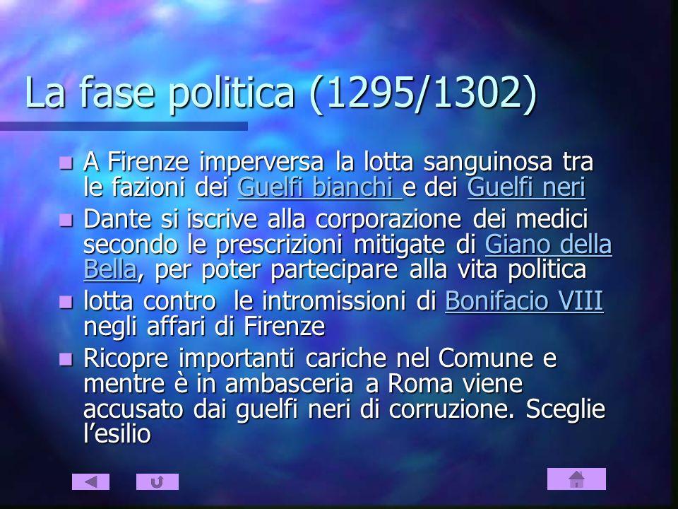 La fase politica (1295/1302) A Firenze imperversa la lotta sanguinosa tra le fazioni dei Guelfi bianchi e dei Guelfi neri A Firenze imperversa la lott