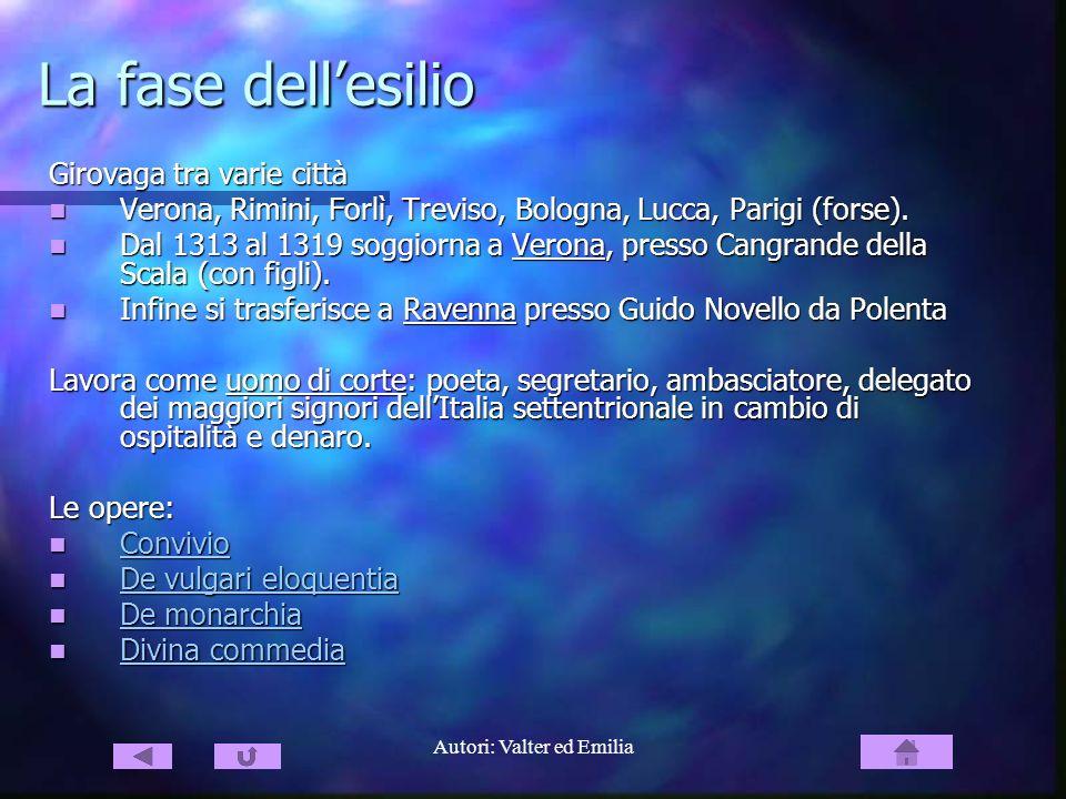 Autori: Valter ed Emilia La fase dellesilio Girovaga tra varie città Verona, Rimini, Forlì, Treviso, Bologna, Lucca, Parigi (forse). Verona, Rimini, F