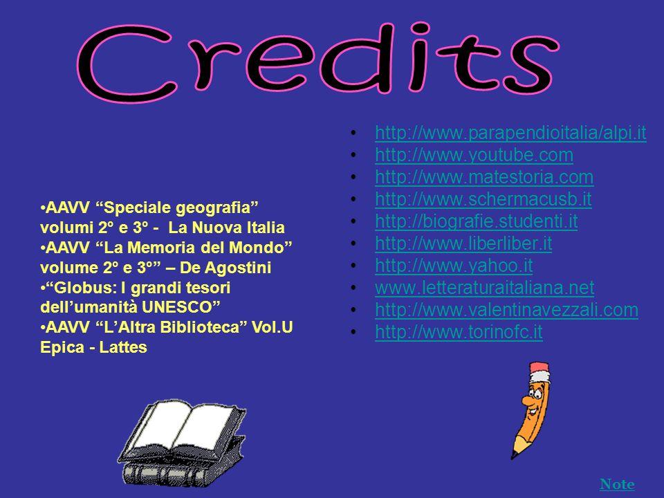 http://www.parapendioitalia/alpi.it http://www.youtube.com http://www.matestoria.com http://www.schermacusb.it http://biografie.studenti.it http://www.liberliber.it http://www.yahoo.it www.letteraturaitaliana.net http://www.valentinavezzali.com http://www.torinofc.it AAVV Speciale geografia volumi 2° e 3° - La Nuova Italia AAVV La Memoria del Mondo volume 2° e 3° – De Agostini Globus: I grandi tesori dellumanità UNESCO AAVV LAltra Biblioteca Vol.U Epica - Lattes Note