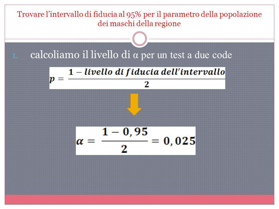 Trovare lintervallo di fiducia al 95% per il parametro della popolazione dei maschi della regione 1. calcoliamo il livello di α per un test a due code
