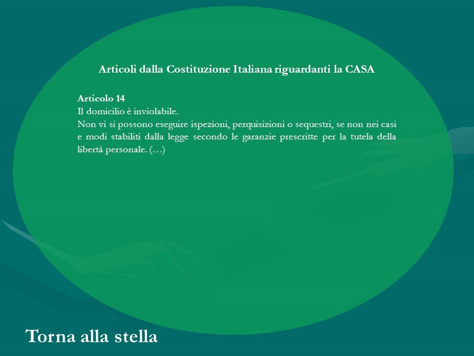 Articoli dalla Costituzione Italiana riguardanti la CASA Articolo 14 Il domicilio è inviolabile. Non vi si possono eseguire ispezioni, perquisizioni o