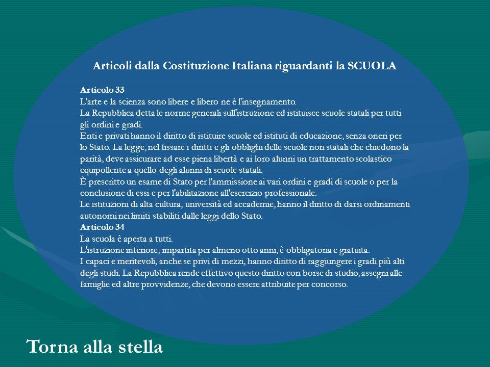Articoli dalla Costituzione Italiana riguardanti la SCUOLA Articolo 33 L'arte e la scienza sono libere e libero ne è l'insegnamento. La Repubblica det
