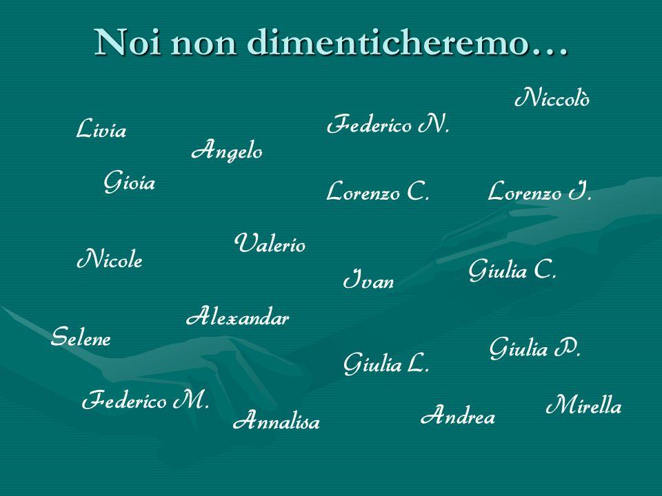 Noi non dimenticheremo… Livia Valerio Selene Gioia Ivan Giulia P. Federico N. Nicole Federico M. Giulia L. Lorenzo I. Alexandar Annalisa Lorenzo C. An