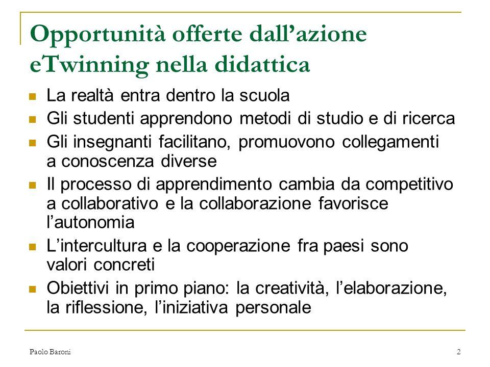 Paolo Baroni13 Conclusione La grande sfida che eTwinning dovrebbe proporsi di affrontare è quella di trasformare i docenti in professionisti dotati di nuove competenze che li portino a dialogare in modo sistematico e non occasionale fra loro a livello europeo per diventare ricercatori di didattica.