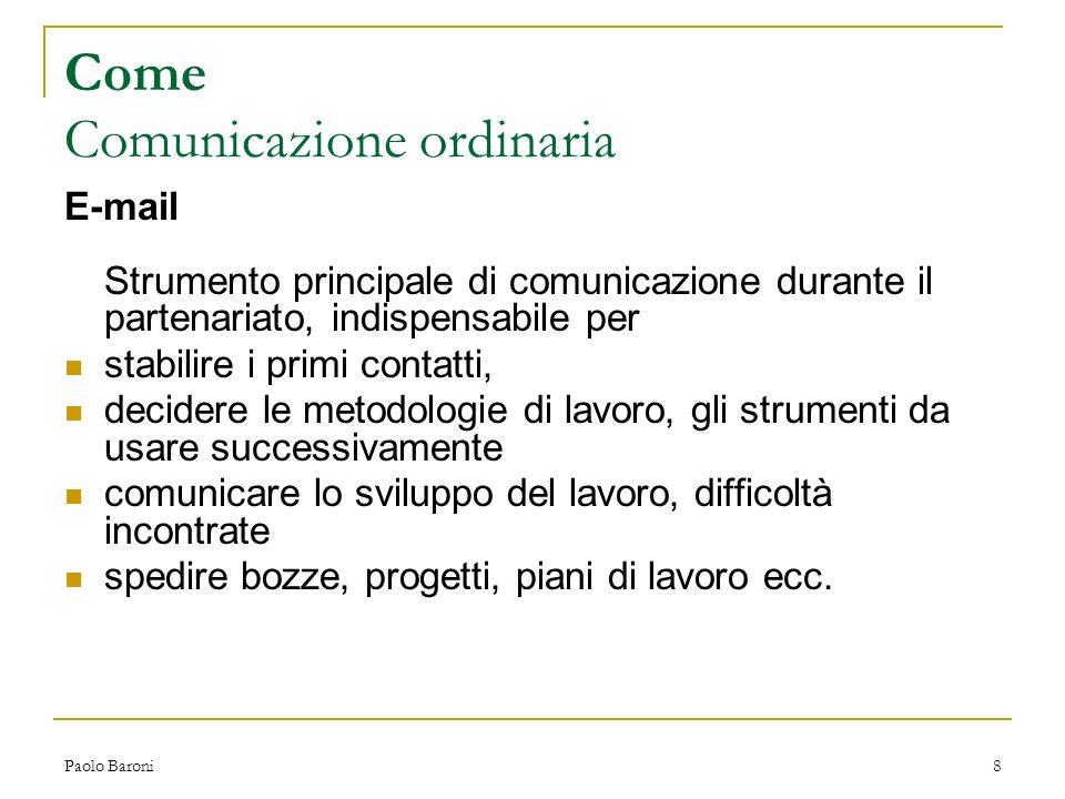 Paolo Baroni9 Come Comunicazione in tempo reale Instant Messaging Messaggi di testo inviati a persone connesse ad Internet che utilizzano un programma di messaggistica istantanea (es.