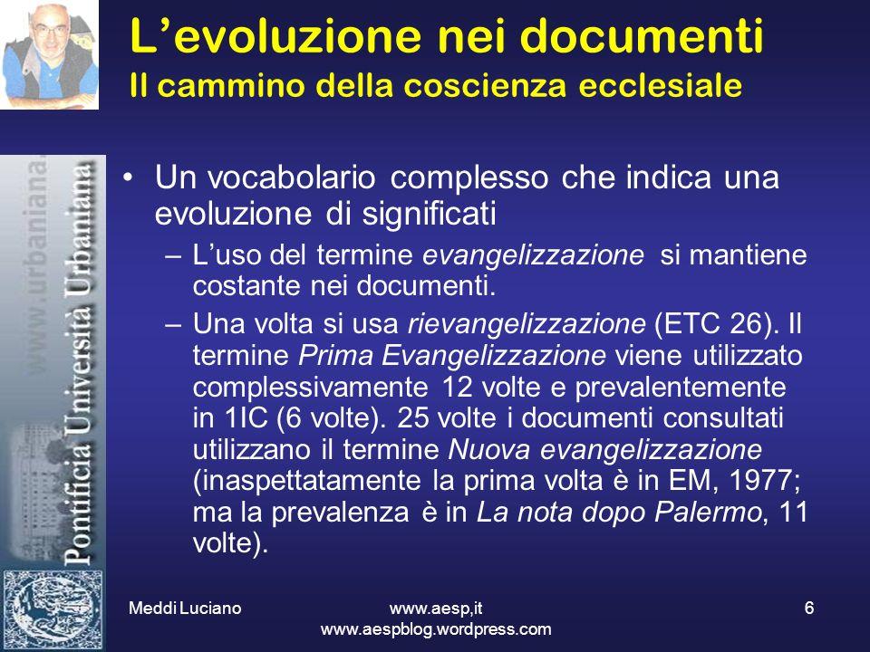 Meddi Luciano www.aesp,it www.aespblog.wordpress.com 6 Levoluzione nei documenti Il cammino della coscienza ecclesiale Un vocabolario complesso che in