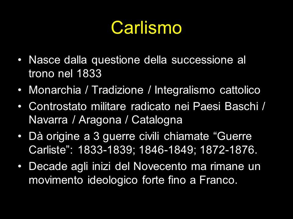 Carlismo Nasce dalla questione della successione al trono nel 1833 Monarchia / Tradizione / Integralismo cattolico Controstato militare radicato nei P