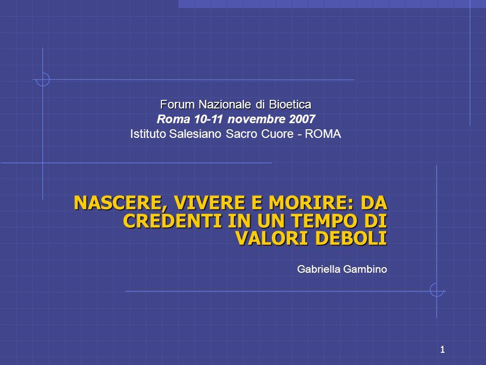 1 NASCERE, VIVERE E MORIRE: DA CREDENTI IN UN TEMPO DI VALORI DEBOLI Gabriella Gambino Forum Nazionale di Bioetica Roma 10-11 novembre 2007 Istituto S