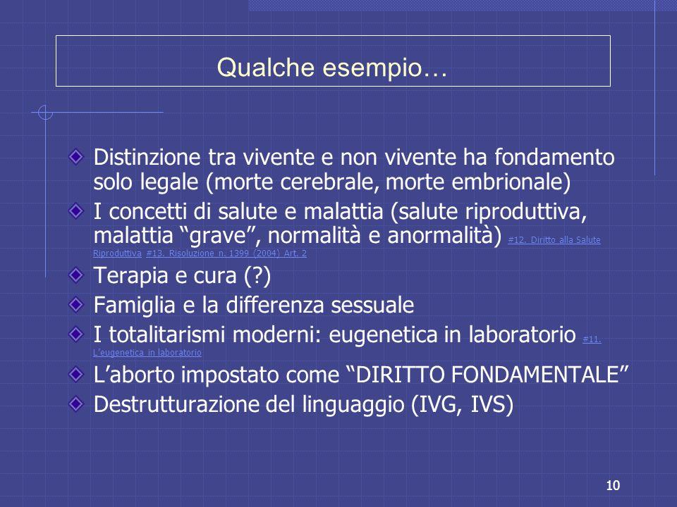 10 Qualche esempio… Distinzione tra vivente e non vivente ha fondamento solo legale (morte cerebrale, morte embrionale) I concetti di salute e malatti