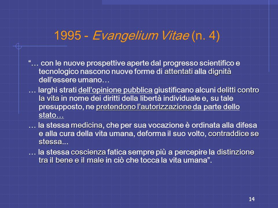 14 1995 - Evangelium Vitae (n. 4) attentatidignità … con le nuove prospettive aperte dal progresso scientifico e tecnologico nascono nuove forme di at