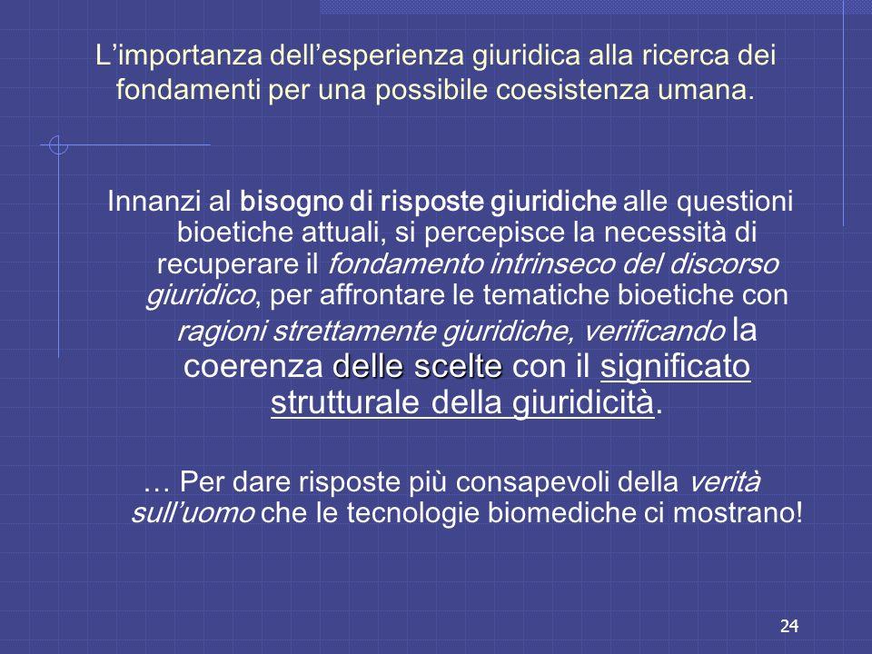 24 Limportanza dellesperienza giuridica alla ricerca dei fondamenti per una possibile coesistenza umana. delle scelte Innanzi al bisogno di risposte g