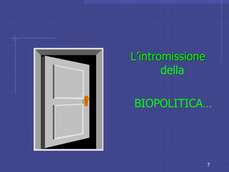 7 Lintromissione Lintromissione della BIOPOLITICA…