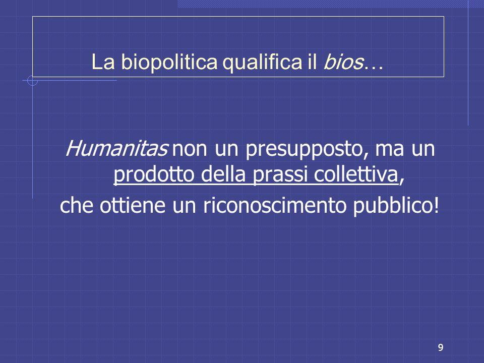9 La biopolitica qualifica il bios… Humanitas non un presupposto, ma un prodotto della prassi collettiva, che ottiene un riconoscimento pubblico!