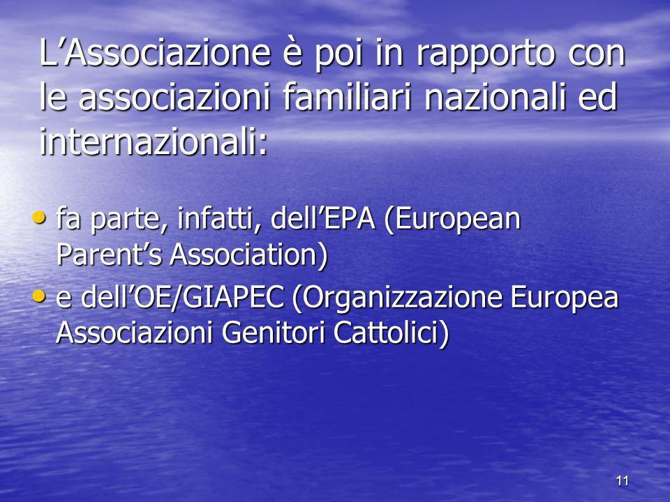 11 LAssociazione è poi in rapporto con le associazioni familiari nazionali ed internazionali: fa parte, infatti, dellEPA (European Parents Association) fa parte, infatti, dellEPA (European Parents Association) e dellOE/GIAPEC (Organizzazione Europea Associazioni Genitori Cattolici) e dellOE/GIAPEC (Organizzazione Europea Associazioni Genitori Cattolici)