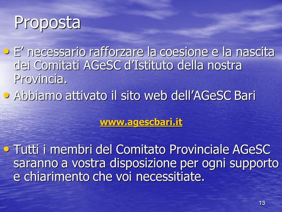 13Proposta E necessario rafforzare la coesione e la nascita dei Comitati AGeSC dIstituto della nostra Provincia.