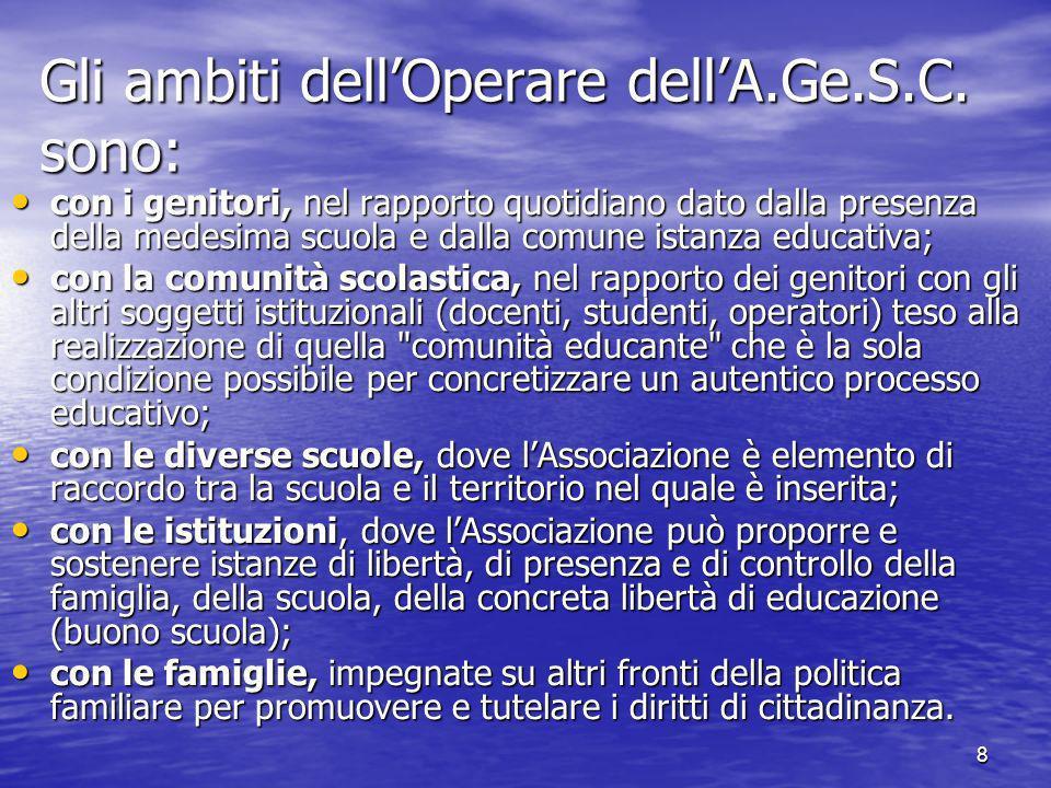 8 Gli ambiti dellOperare dellA.Ge.S.C.