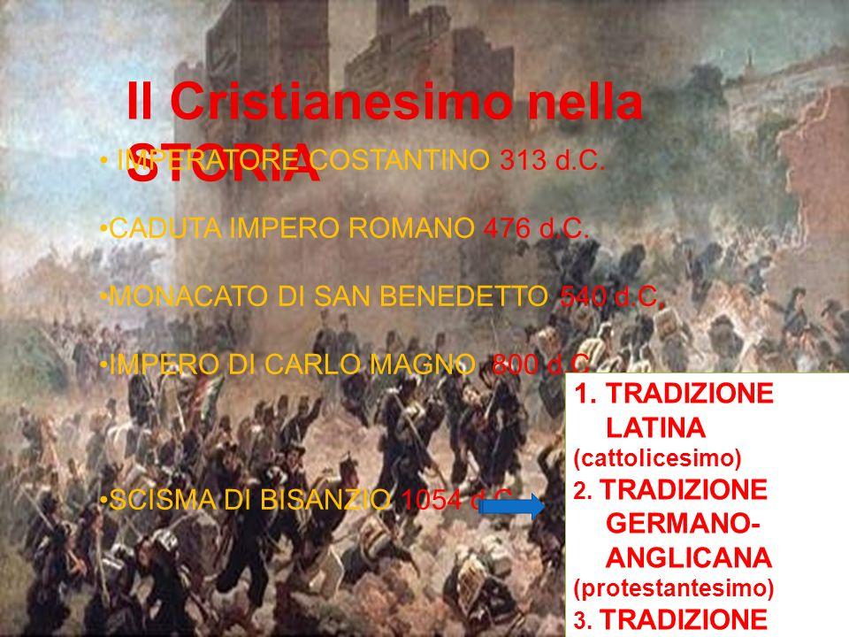 Il Cristianesimo nella STORIA IMPERATORE COSTANTINO 313 d.C. CADUTA IMPERO ROMANO 476 d.C. MONACATO DI SAN BENEDETTO 540 d.C, IMPERO DI CARLO MAGNO 80
