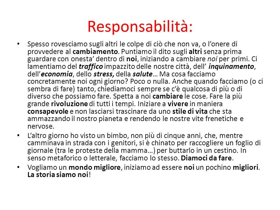 Responsabilità: Spesso rovesciamo sugli altri le colpe di ciò che non va, o lonere di provvedere al cambiamento. Puntiamo il dito sugli altri senza pr