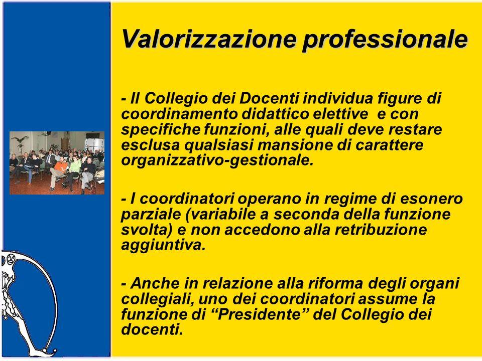 Valorizzazione professionale Valorizzazione professionale - Il Collegio dei Docenti individua figure di coordinamento didattico elettive e con specifiche funzioni, alle quali deve restare esclusa qualsiasi mansione di carattere organizzativo-gestionale.