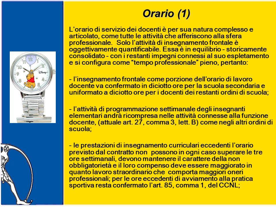 Orario (1) Lorario di servizio dei docenti è per sua natura complesso e articolato, come tutte le attività che afferiscono alla sfera professionale.