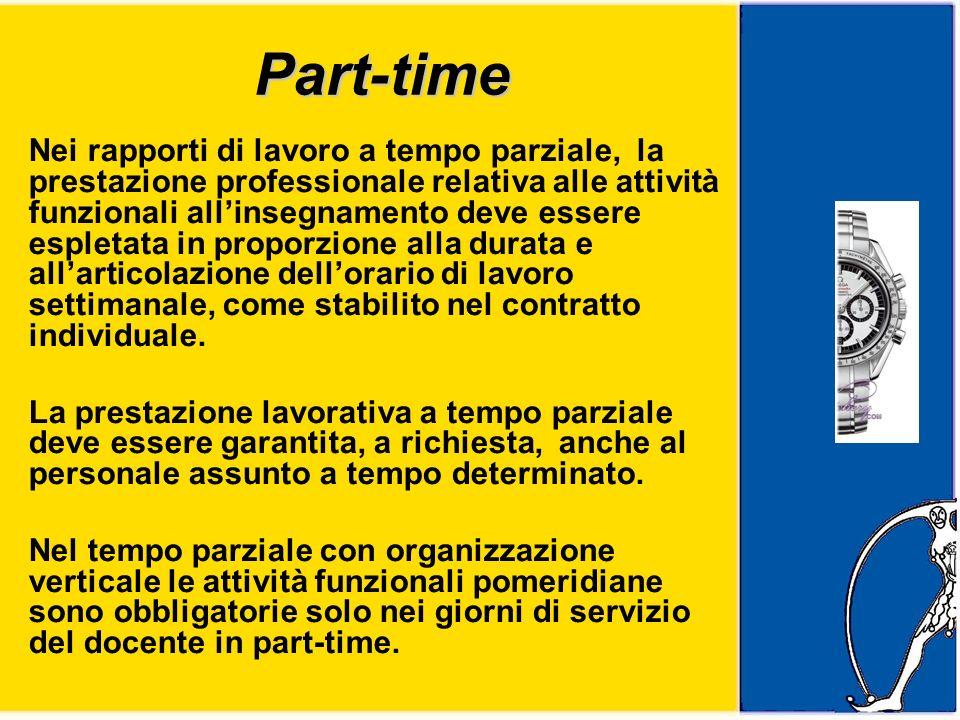 Part-time Nei rapporti di lavoro a tempo parziale, la prestazione professionale relativa alle attività funzionali allinsegnamento deve essere espletata in proporzione alla durata e allarticolazione dellorario di lavoro settimanale, come stabilito nel contratto individuale.