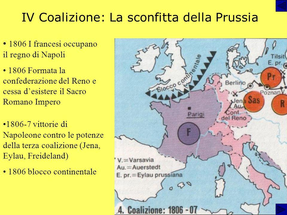 IV Coalizione: La sconfitta della Prussia 1806 I francesi occupano il regno di Napoli 1806 Formata la confederazione del Reno e cessa desistere il Sacro Romano Impero 1806-7 vittorie di Napoleone contro le potenze della terza coalizione (Jena, Eylau, Freideland) 1806 blocco continentale