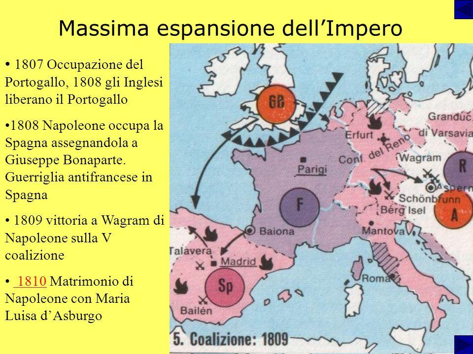 Massima espansione dellImpero 1807 Occupazione del Portogallo, 1808 gli Inglesi liberano il Portogallo 1808 Napoleone occupa la Spagna assegnandola a Giuseppe Bonaparte.