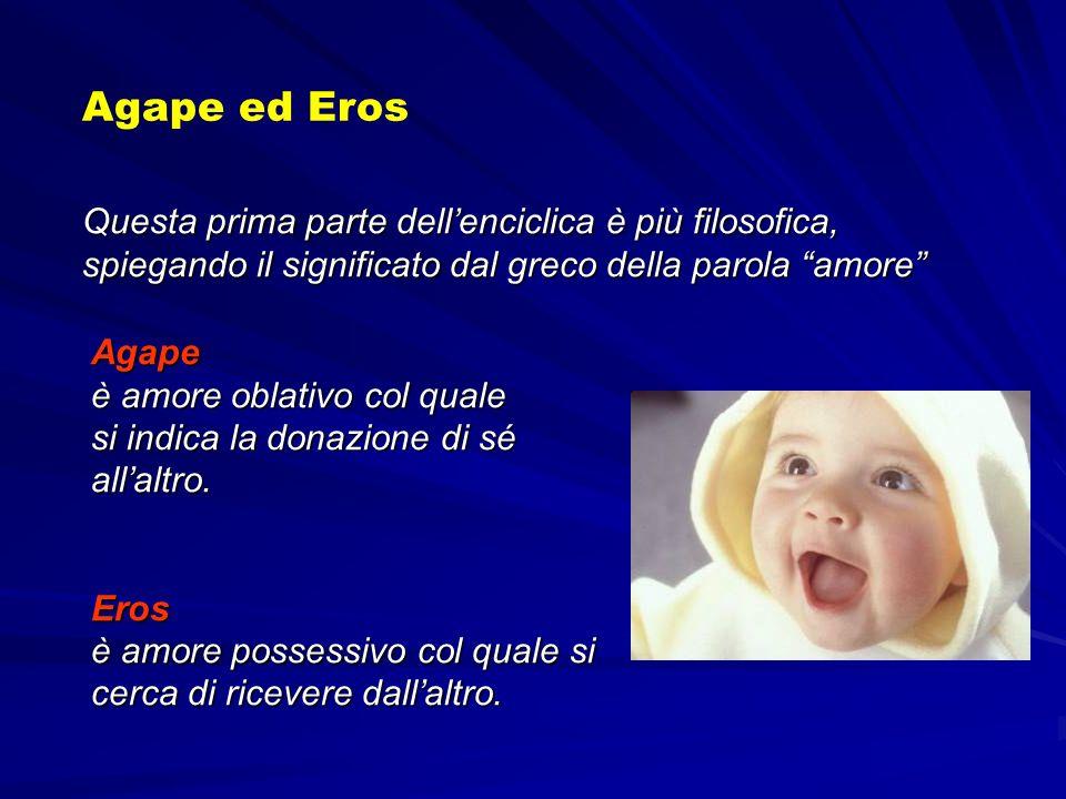 Questa prima parte dellenciclica è più filosofica, spiegando il significato dal greco della parola amore Agape ed Eros Agape è amore oblativo col qual
