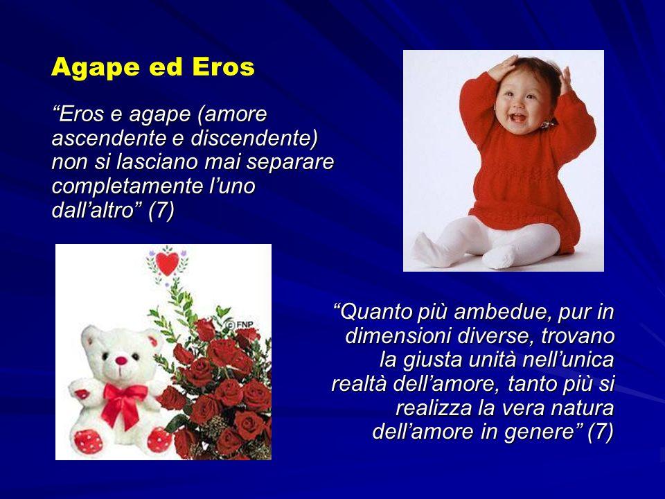 Eros e agape (amore ascendente e discendente) non si lasciano mai separare completamente luno dallaltro (7) Agape ed Eros Quanto più ambedue, pur in d