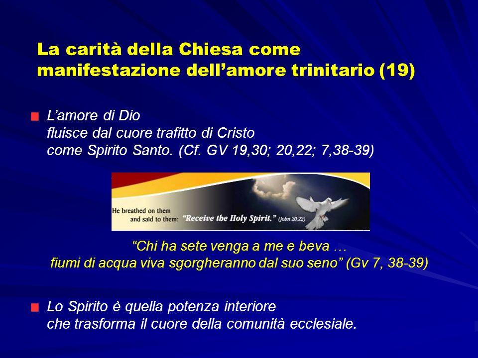 Lo Spirito è quella potenza interiore che trasforma il cuore della comunità ecclesiale. La carità della Chiesa come manifestazione dellamore trinitari
