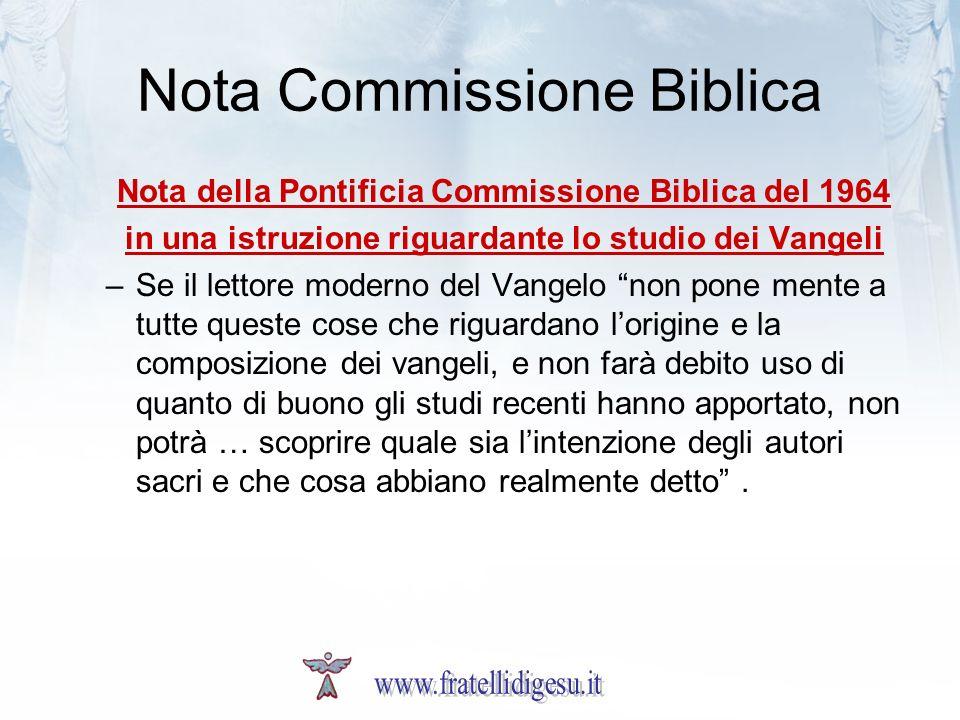 Nota Commissione Biblica Nota della Pontificia Commissione Biblica del 1964 in una istruzione riguardante lo studio dei Vangeli –Se il lettore moderno