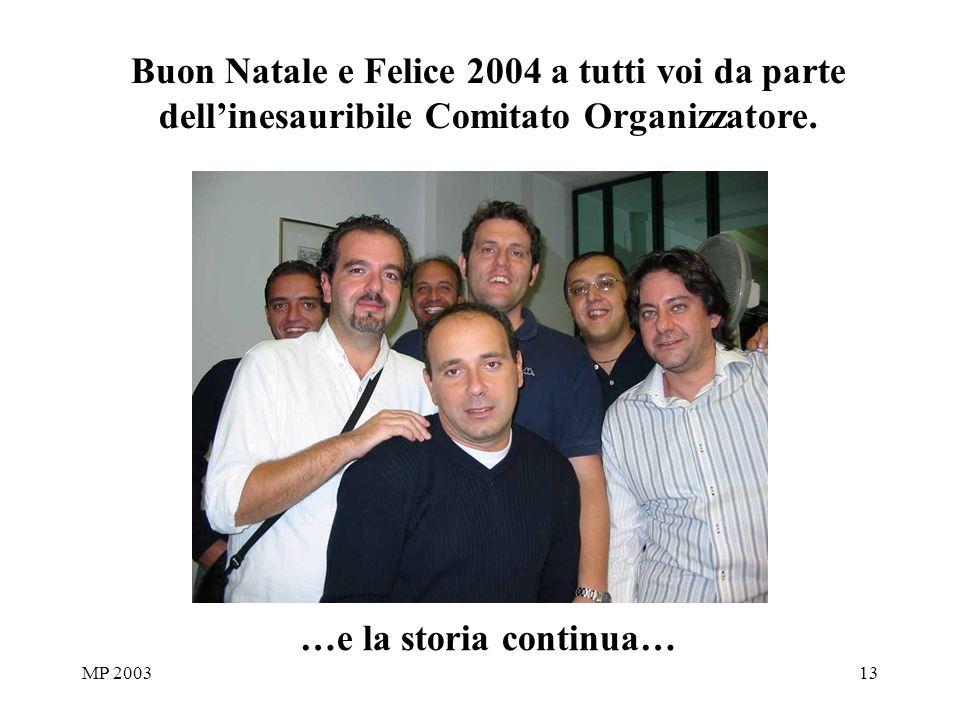 MP 200313 …e la storia continua… Buon Natale e Felice 2004 a tutti voi da parte dellinesauribile Comitato Organizzatore.