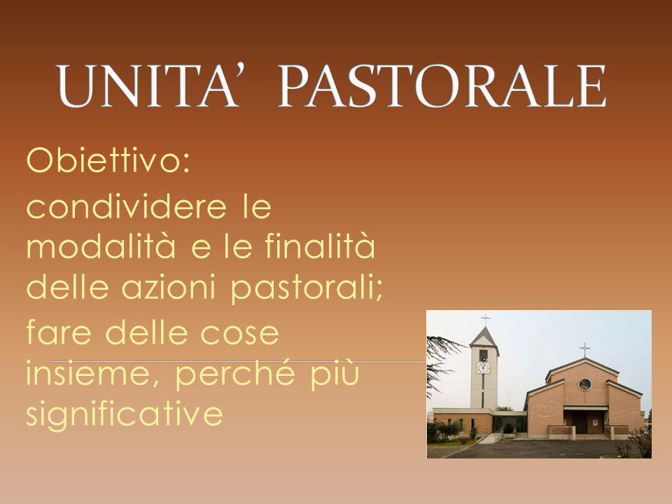 Obiettivo: condividere le modalità e le finalità delle azioni pastorali; fare delle cose insieme, perché più significative