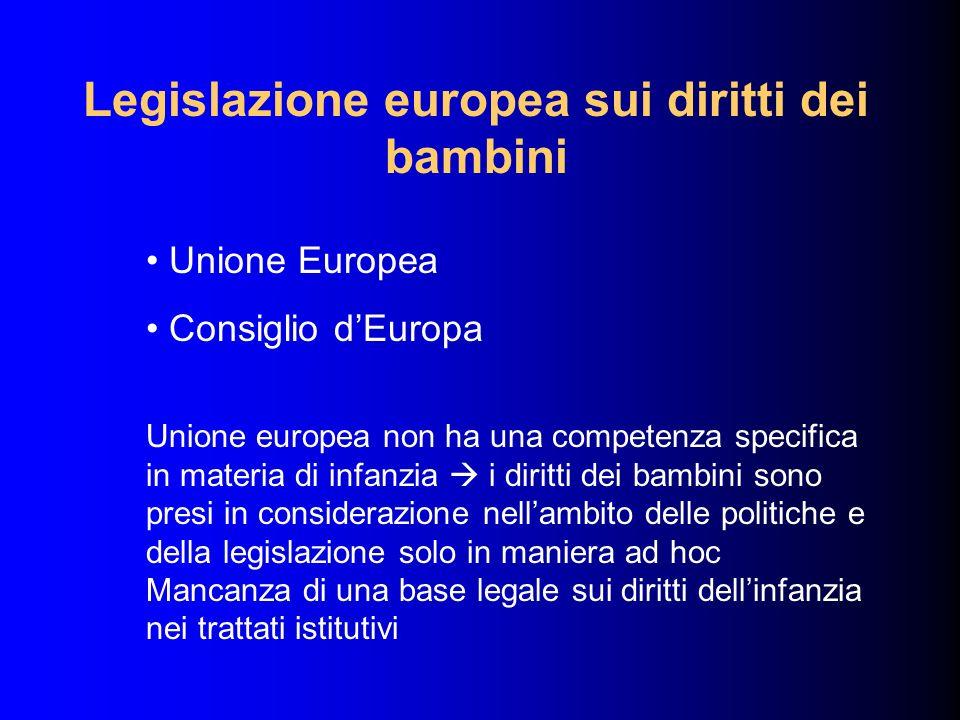 Legislazione europea sui diritti dei bambini Unione Europea Consiglio dEuropa Unione europea non ha una competenza specifica in materia di infanzia i