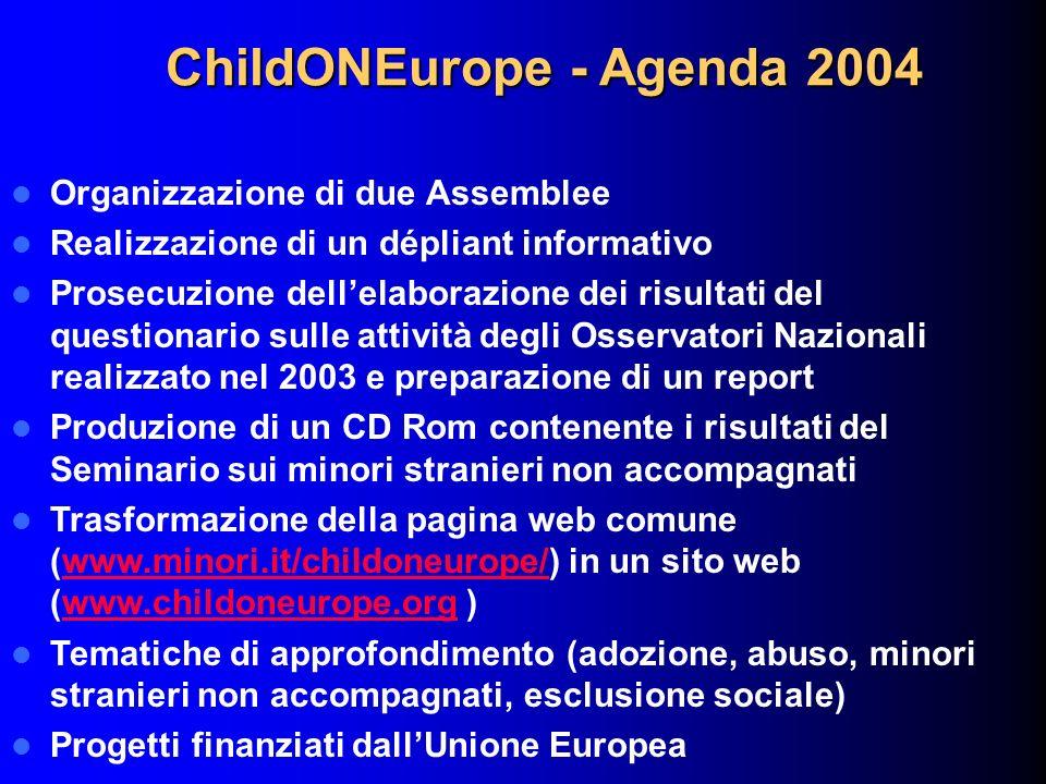 ChildONEurope - Agenda 2004 Organizzazione di due Assemblee Realizzazione di un dépliant informativo Prosecuzione dellelaborazione dei risultati del q