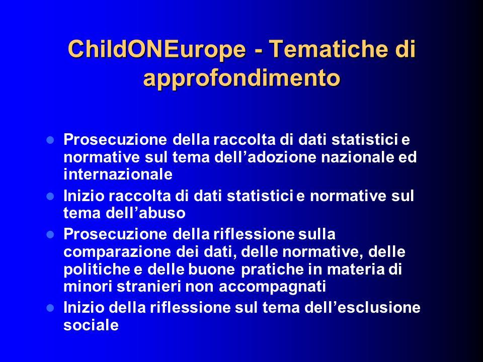 ChildONEurope - Tematiche di approfondimento Prosecuzione della raccolta di dati statistici e normative sul tema delladozione nazionale ed internazion