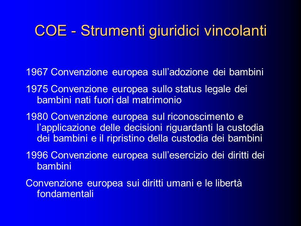 COE - Strumenti giuridici vincolanti 1967 Convenzione europea sulladozione dei bambini 1975 Convenzione europea sullo status legale dei bambini nati f