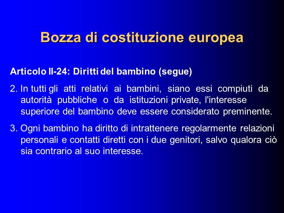 Articolo II-24: Diritti del bambino (segue) 2. In tutti gli atti relativi ai bambini, siano essi compiuti da autorità pubbliche o da istituzioni priva