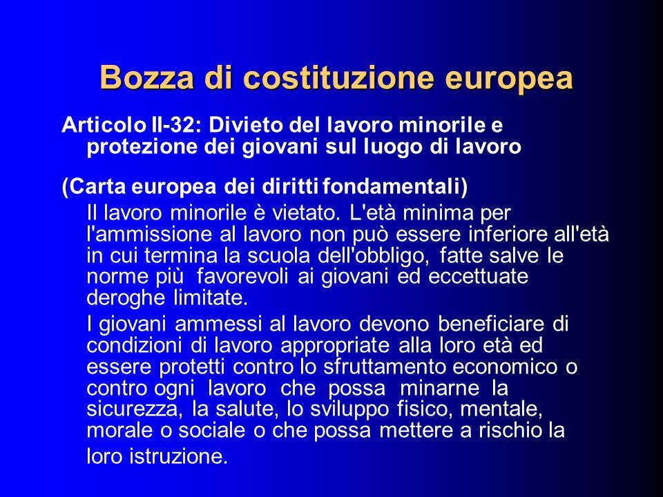 Articolo II-32: Divieto del lavoro minorile e protezione dei giovani sul luogo di lavoro (Carta europea dei diritti fondamentali) Il lavoro minorile è
