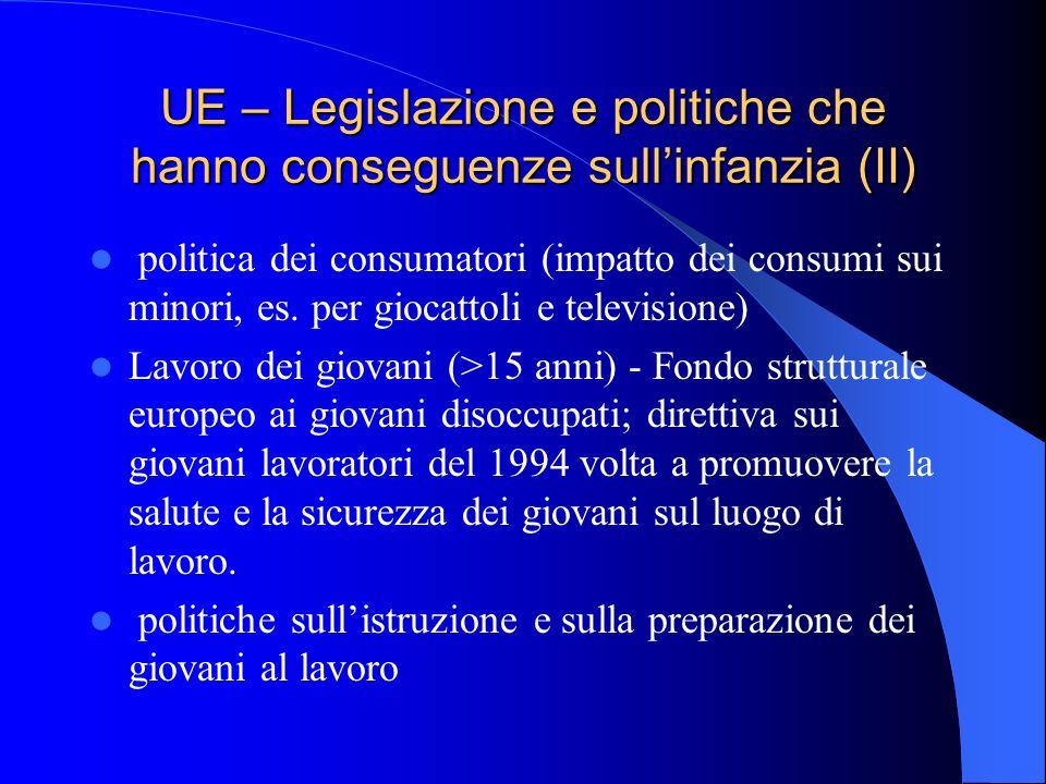 UE – Legislazione e politiche che hanno conseguenze sullinfanzia (II) politica dei consumatori (impatto dei consumi sui minori, es. per giocattoli e t